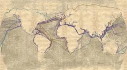 Woodcut Bathymetry Map