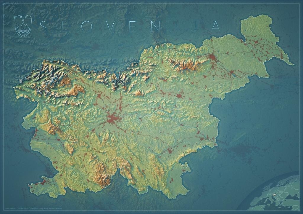 topographic map of Slovenia